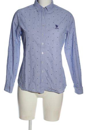 U.s. polo assn. Camicia a maniche lunghe blu-bianco motivo floreale