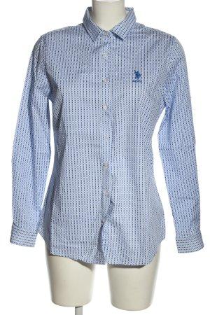 U.s. polo assn. Langarmhemd weiß-blau Allover-Druck Business-Look