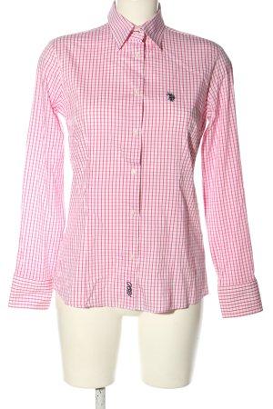 U.s. polo assn. Camicia a maniche lunghe bianco-rosa motivo a quadri