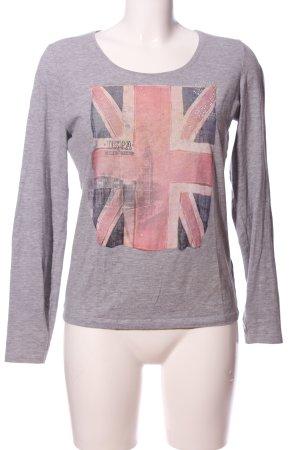 U.s. polo assn. Manica lunga grigio chiaro-rosa puntinato stile casual