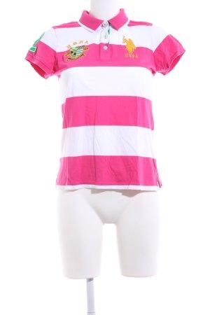 U.s. polo assn. Polo-Shirt pink-weiß Motivdruck Casual-Look
