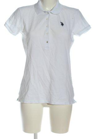 U.s. polo assn. Polo bianco-nero caratteri ricamati stile casual