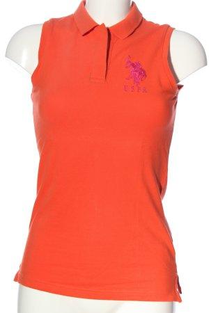 U.s. polo assn. Polo arancione chiaro-rosa stile casual