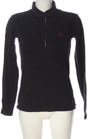 U.s. polo assn. Polo-Shirt schwarz-hellgrau meliert Casual-Look