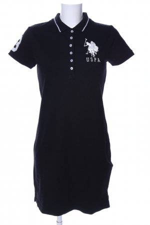 U.s. polo assn. Robe Polo noir-blanc imprimé avec thème style athlétique