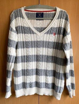 U.S. Polo Assn. Pullover gestreift | weiß grau | Gr. M