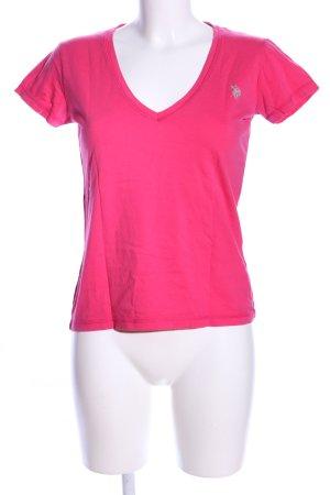 U.s. polo assn. T-Shirt pink Schriftzug gedruckt Casual-Look