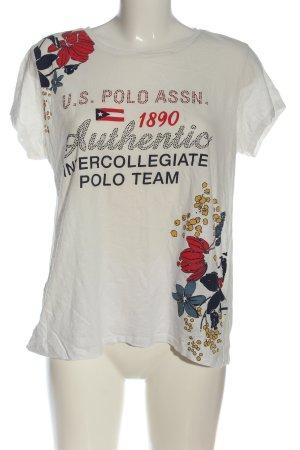 U.s. polo assn. T-shirt bianco motivo floreale stile casual
