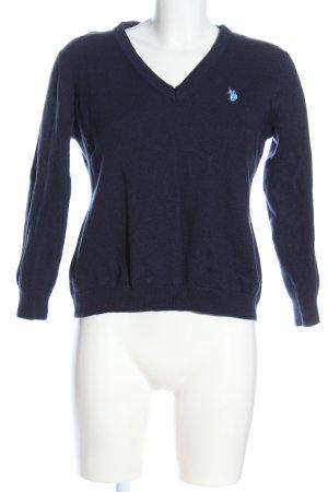 U.s. polo assn. Maglione con scollo a V blu caratteri ricamati stile casual