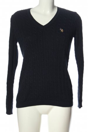 U.s. polo assn. V-Ausschnitt-Pullover blau Zopfmuster Elegant
