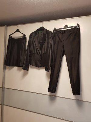 UCOB Anzug Dreiteiler Rock, Hose , Blazer schwarz Gr M/38