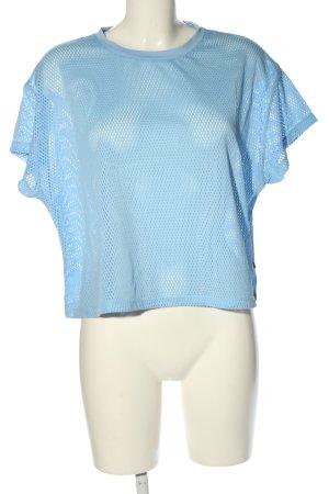 Ucxo Camisa de malla azul look casual