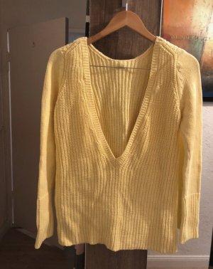 Zara T-shirt col en V jaune primevère-jaune