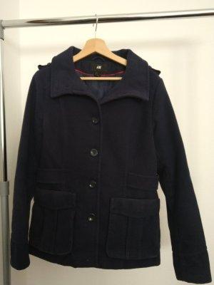 H&M Marynarska kurtka ciemnoniebieski Tkanina z mieszanych włókien