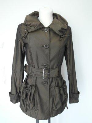 Übergangsjacke in Braun-Schwarz mit Taschen und Gürtel