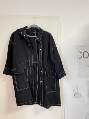 Übergangsjacke lange sportliche Jacke in Schwarz oversized
