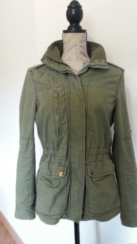H&M Outdoor Jacket green grey-sand brown cotton