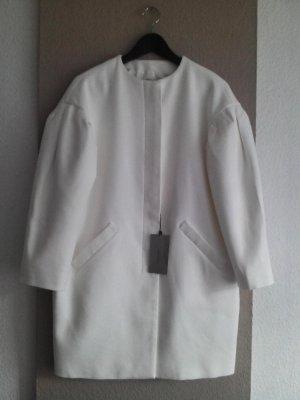 Übergangsmantel in gebrochenem Weiß mit Ballonärmeln aus 100% Baumwolle, Größe M neu