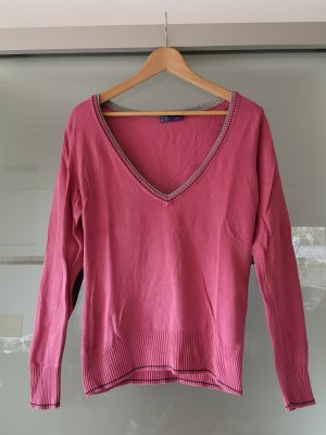 AJC V-Neck Sweater raspberry-red-pink cotton