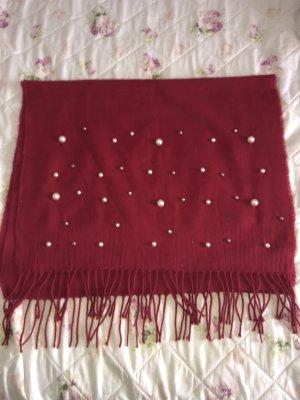 Zara Bufanda de flecos rojo oscuro-rojo ladrillo