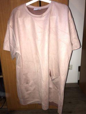 Übergroßes T-Shirt Kleid mit Tasche in Rosa