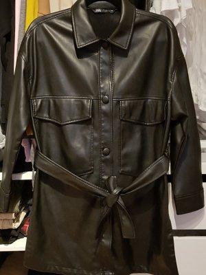 Zara Leather Shirt black polyurethane