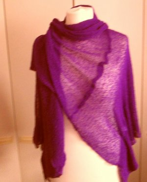 Knitted Poncho violet viscose