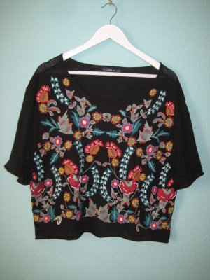 Üppig bestickter Pullover von Zara Gr. M