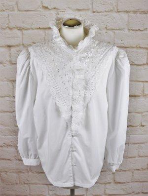 Üppige Vintage 80er Rüschenbluse Trachtenbluse Größe 44 46 XXL Weiß Lochstickerei Stehkragen Langarmbluse Viktorianisch