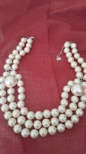 Misaki Naszyjnik z perłami biały-srebrny