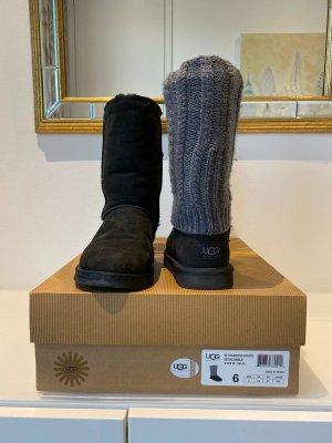 "UGG Australia ""Classic Boot"" schwarz mit abnehmbarer Strickstulpe (Größe 37)"