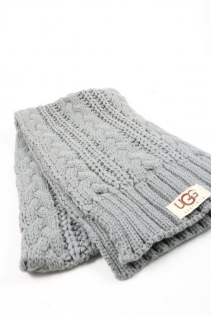 UGG Australia Knitted Scarf light grey cable stitch casual look