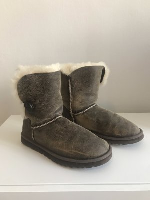 UGG Australia Fur Boots dark brown-natural white