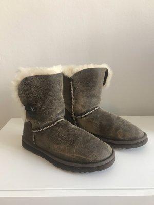UGG Australia Futrzane buty ciemnobrązowy-w kolorze białej wełny