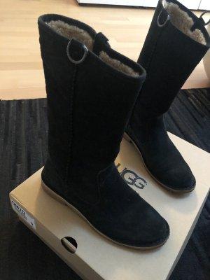 UGG Australia Futrzane buty czarny Skóra