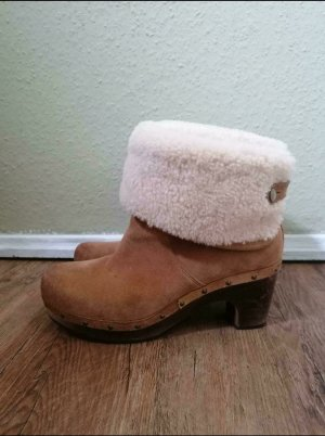 UGG Bottines à enfiler marron clair-blanc cassé