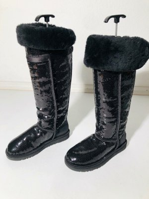 """Ugg Boots Overknees """"Bailey Button"""" Stiefel mit Pailetten - schwarz Gr. 37"""