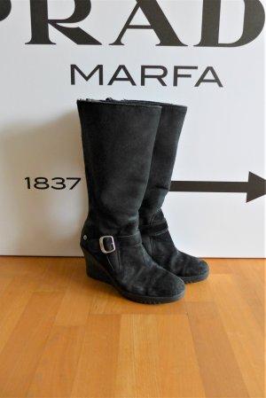 Ugg Boots Stiefel hoch Keil Absatz Wedge schwarz Leder Gr. 39