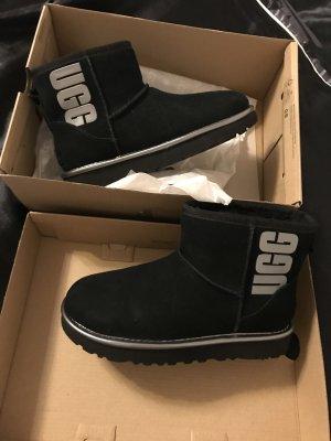 UGG Bottes de neige noir-gris anthracite cuir
