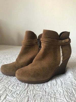 UGG Wedge Booties camel-cream leather