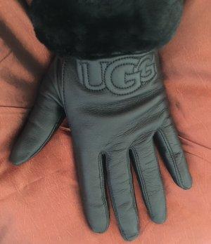 UGG Guantes de cuero negro Cuero