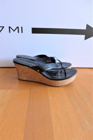 Ugg Plateau Schuhe Sandale Zehen Flip-Flops Sandalette Kork schwarz Gr. 40