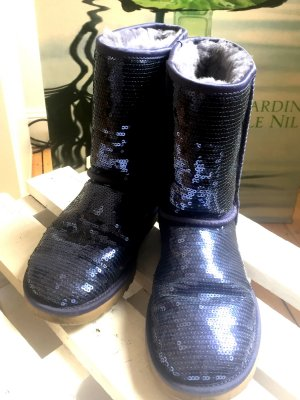 UGG Sparkles, Lammfell Boots mit Pailletten / blaumetallic, Gr 39