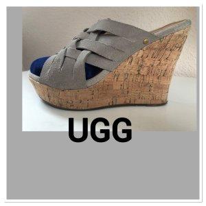 UGG Wedges Suede Velourleder beige Gr. 39 W Topzustand