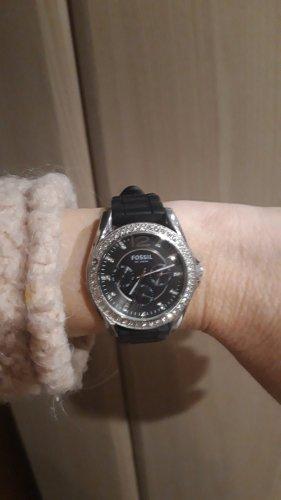 Fossil Horloge met lederen riempje zwart-zilver