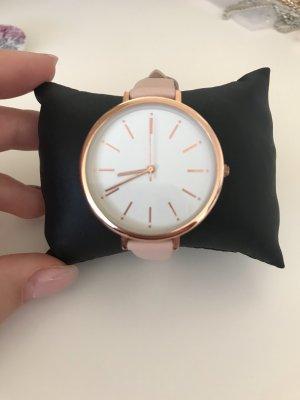 Kiomi Montre avec bracelet en cuir or rose-blanc