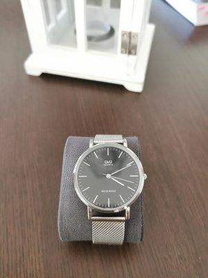 Horloge met metalen riempje zwart-zilver