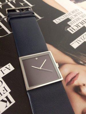 Madison Horloge met lederen riempje donkerblauw