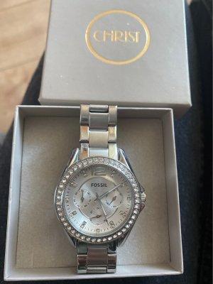 Fossil Zegarek z metalowym paskiem srebrny