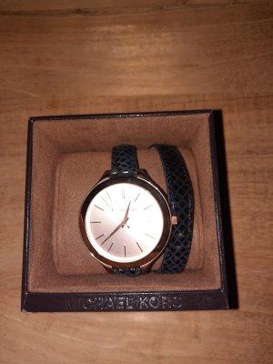 Michael Kors Reloj con pulsera de cuero negro